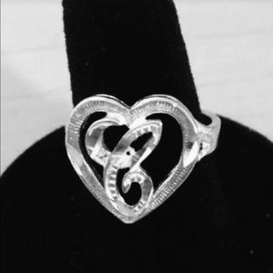 Sterling silver initial (C) ring sz 7/8